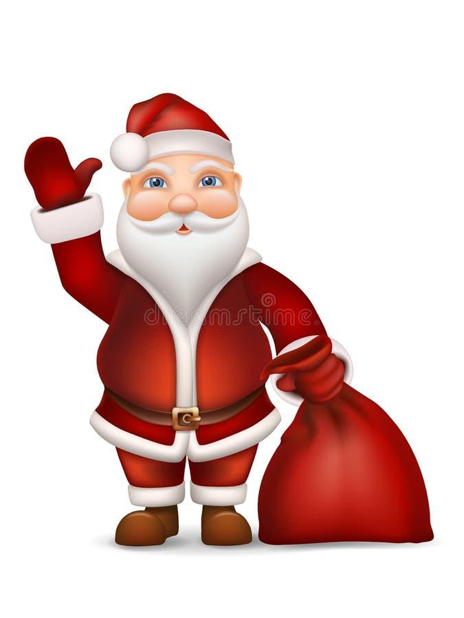 Santa con una borsa dei regali che ondeggiano la sua mano illustrazione di stock