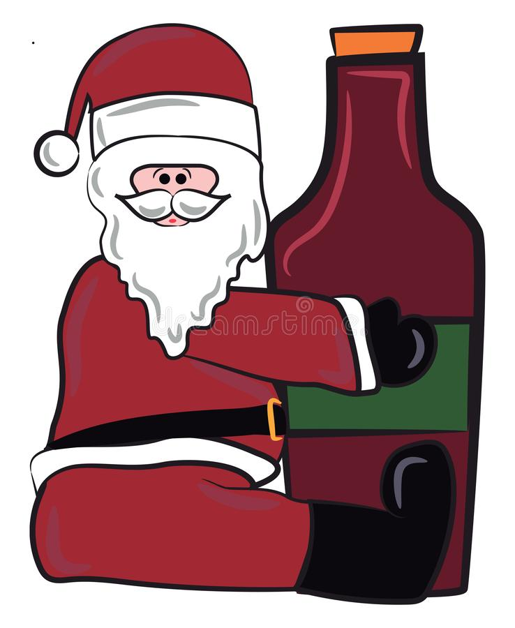 Santa con vectores de botella de vino tinto o ilustración de color libre illustration