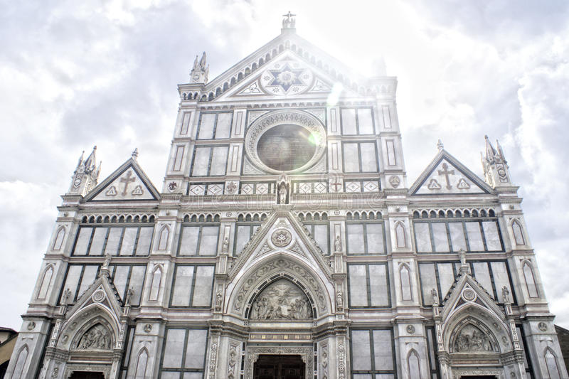 Santa Croce in Firenze, Italy. Catedral Santa Croce at square venice square stock images
