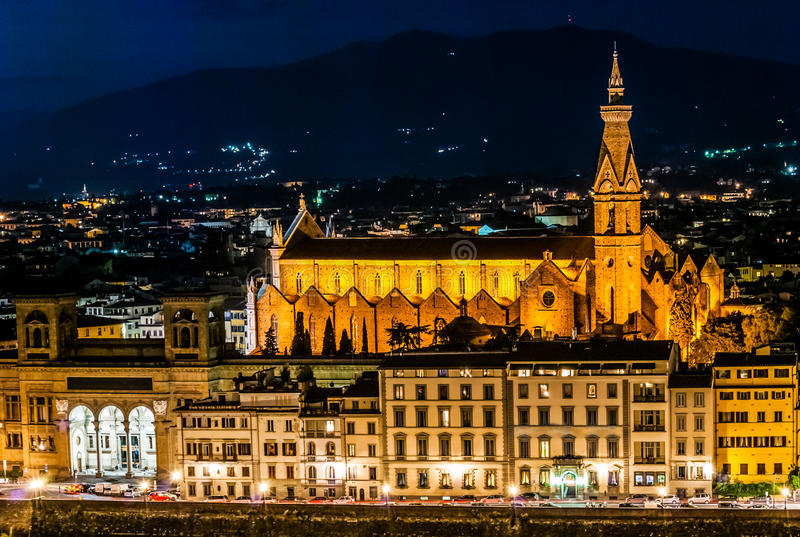 Santa Croce-mening bij nacht, Florence royalty-vrije stock foto