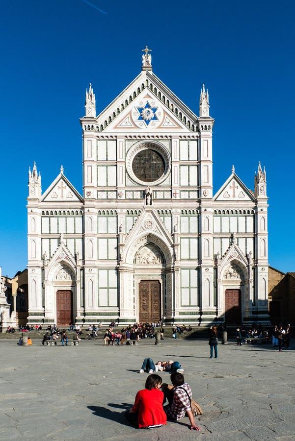 Santa Croce piazza och kyrka, Florence, Italien royaltyfri bild