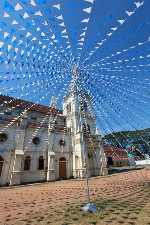 Santa Cruz Basilica in Cochin, decorated for Christmas flags. India royalty free stock photo