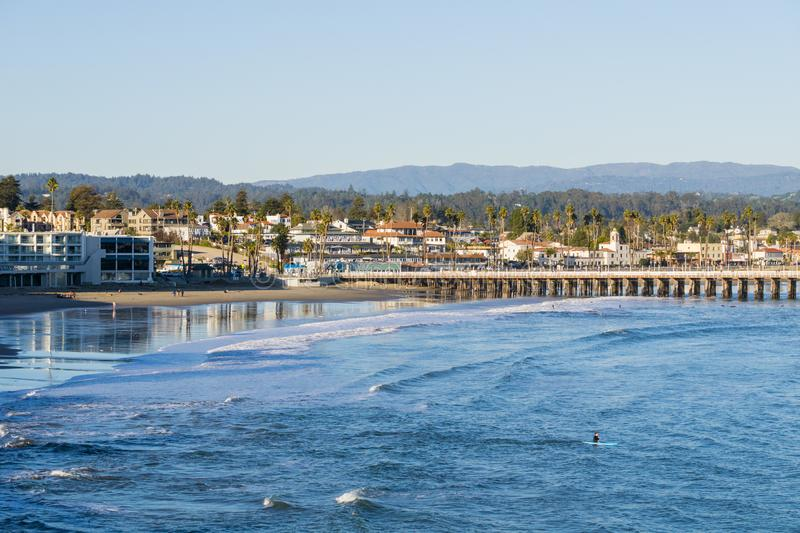 Santa Cruz bay and wharf at sunset, California royalty free stock images