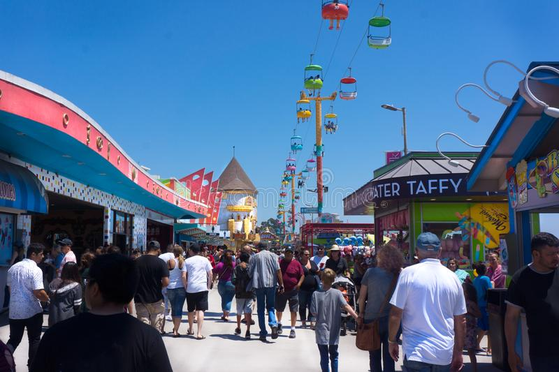 Santa Cruz Boardwalk Crowd images libres de droits
