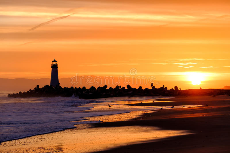 Santa Cruz Breakwater Light & x28; Walton Lighthouse & x29; bij zonsopgang royalty-vrije stock foto