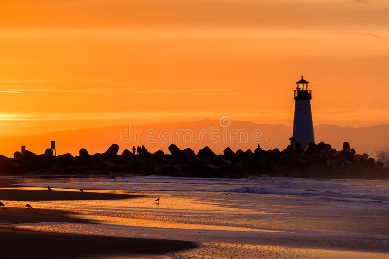 Santa Cruz Breakwater Light & x28; Walton Lighthouse & x29; bij zonsopgang royalty-vrije stock afbeelding