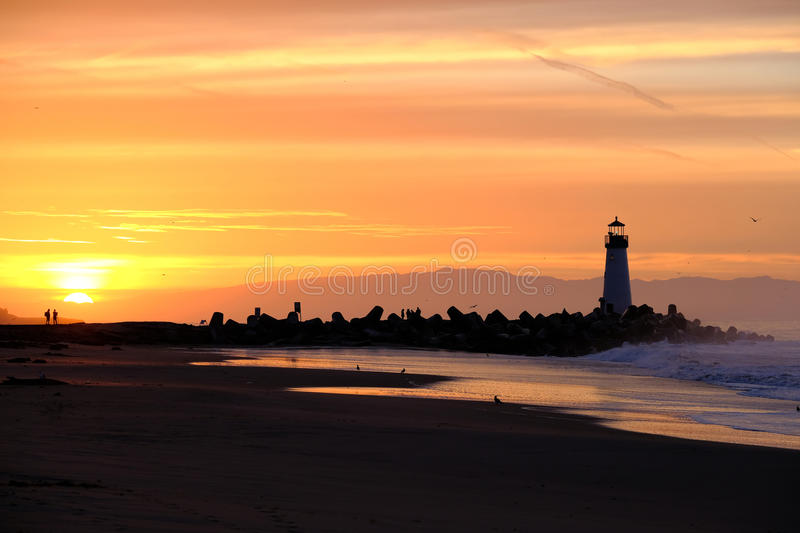 Santa Cruz Breakwater Light & x28; Walton Lighthouse & x29; bij zonsopgang royalty-vrije stock fotografie