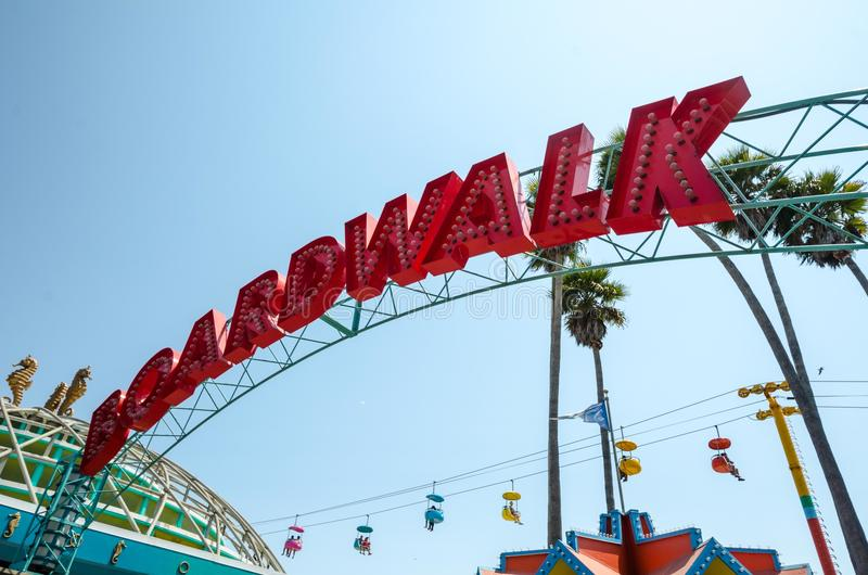 Santa Cruz California Boardwalk-teken stock afbeelding