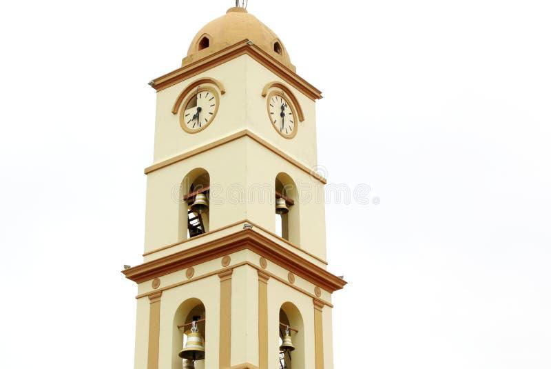 Santa Cruz de Λα Sierra, Βολιβία θρησκευτικός πύργος κουδουνιών εκκλησιών στοκ εικόνα με δικαίωμα ελεύθερης χρήσης