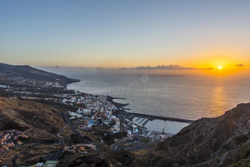 Santa Cruz de La Palma au lever de soleil Les Îles Canaries photos stock