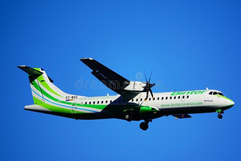 Santa Cruz de La Palma, Canary Islands, Spain; December 3st 2018: Binter airplane arriving at La Palma Airport royalty free stock images