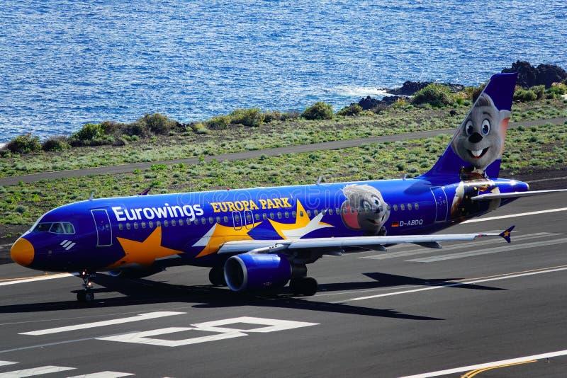 Santa Cruz de La Palma, Canary Islands, Spain; Eurowings Europa Park airplane on the runway at La Palma Airport royalty free stock photo