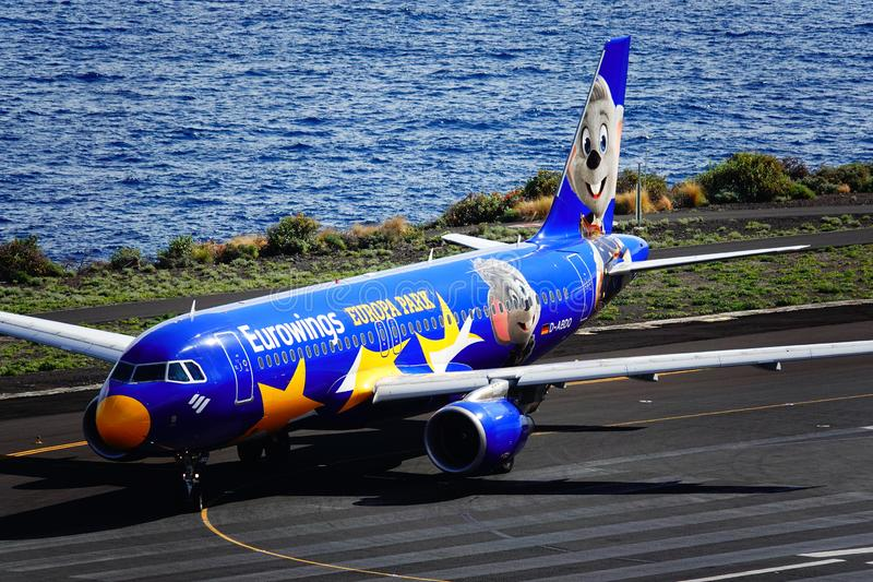 Santa Cruz de La Palma, Canary Islands, Spain; Eurowings Europa Park airplane on the runway at La Palma Airport stock photo