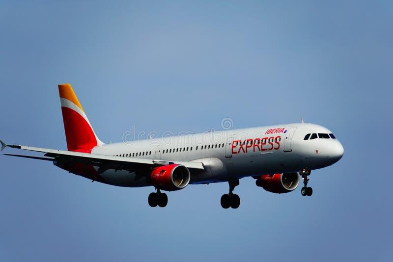 Santa Cruz de La Palma, Canary Islands, Spain; January 12th 2019: Iberia Express airplane arriving at La Palma Airport stock photo