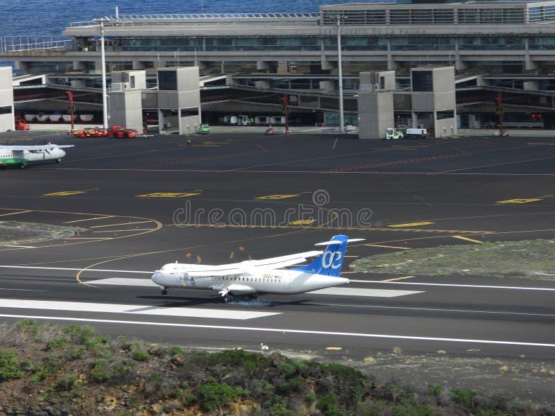 Santa Cruz de La Palma, Canary Islands, Spain; November 18th 2018: Air Europa Express airplane landing at La Palma Airport royalty free stock image