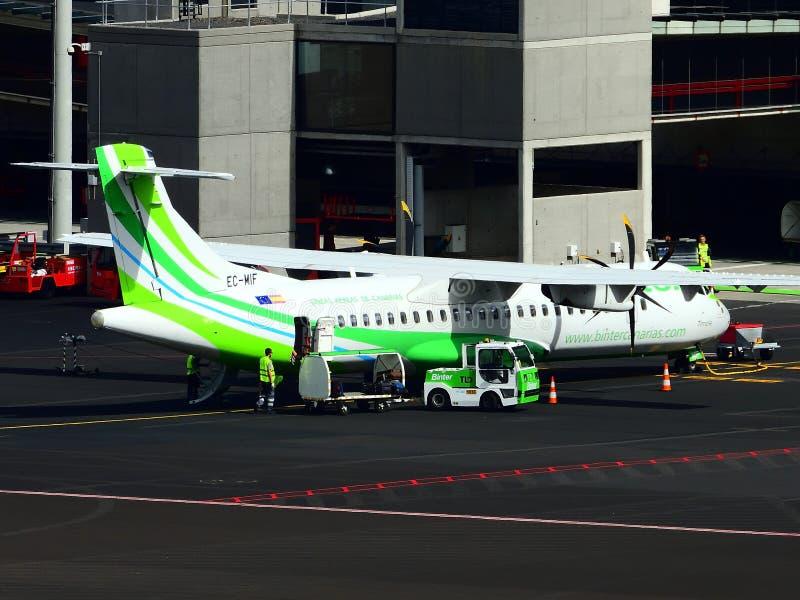 Santa Cruz de La Palma, Canary Islands, Spain; November 18th 2018: Binter airplane on the runway at La Palma Airport stock photography