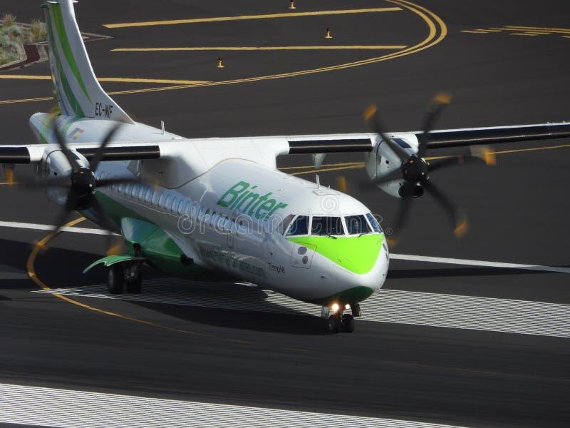 Santa Cruz de La Palma, Canary Islands, Spain; November 18th 2018: Binter airplane on the runway at La Palma Airport stock photo