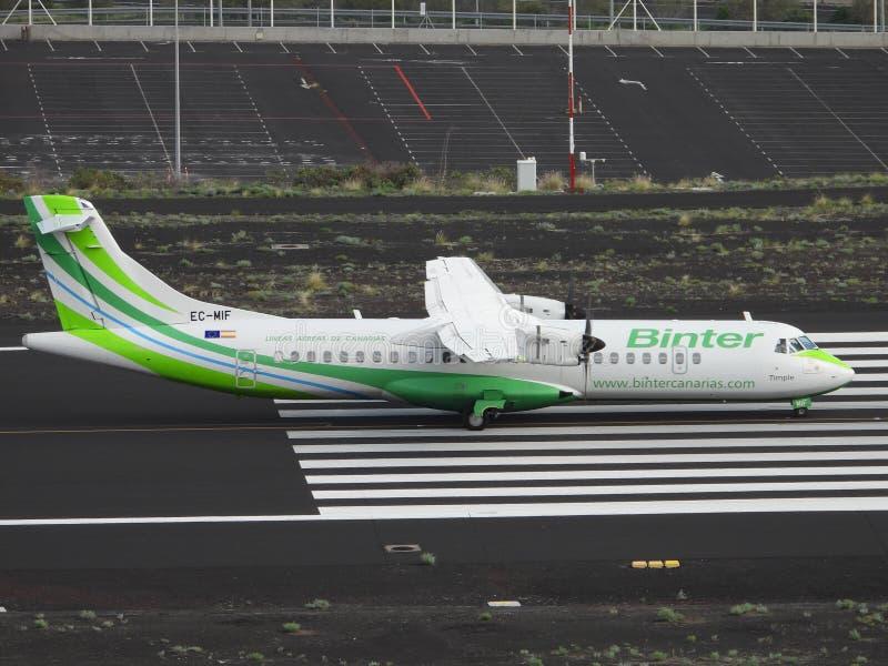 Santa Cruz de La Palma, Canary Islands, Spain; November 18th 2018: Binter airplane on the runway at La Palma Airport royalty free stock photos