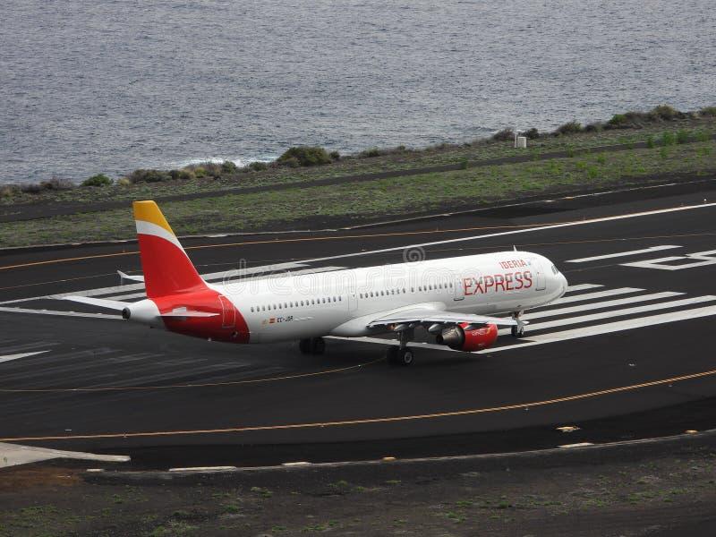 Santa Cruz de La Palma, Canary Islands, Spain; November 18th 2018: Iberia Express airplane on the runway at La Palma Airport stock image