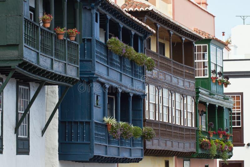 Santa Cruz de la Palma, Spain. Traditional wooden balconies royalty free stock image