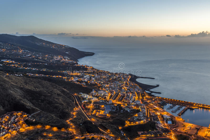 Santa Cruz de La Palma at sunrise. Canary islands. Spain stock images