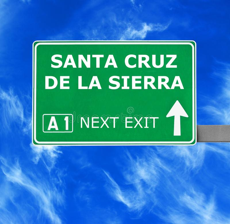 SANTA CRUZ DE LA SIERRA road sign against clear blue sky stock photography