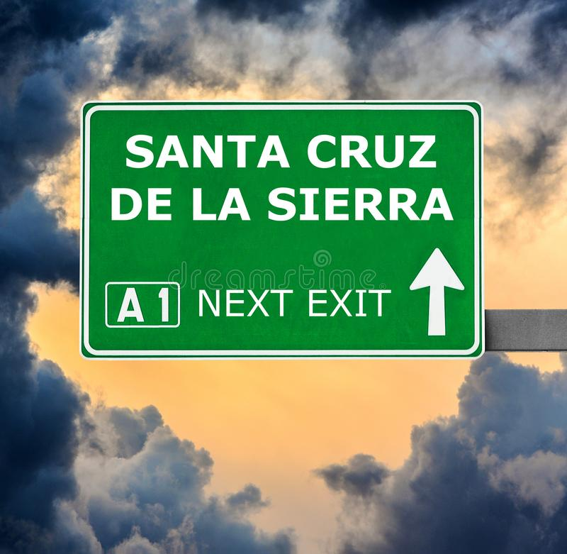SANTA CRUZ DE LA SIERRA road sign against clear blue sky stock images