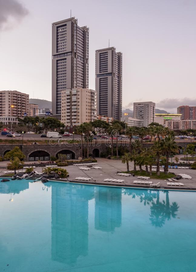 Santa Cruz de Tenerife on Canary Islands. Skyline of the city with Torres de Santa Cruz and Parque Maritimo Cesar Manrique, Santa Cruz de Tenerife, Tenerife royalty free stock image