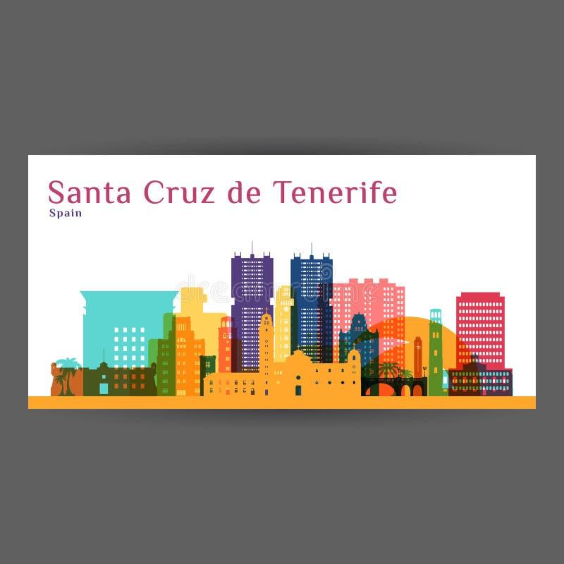 Santa Cruz de Tenerife city architecture silhouette. Colorful skyline. City flat design. Vector business card royalty free illustration
