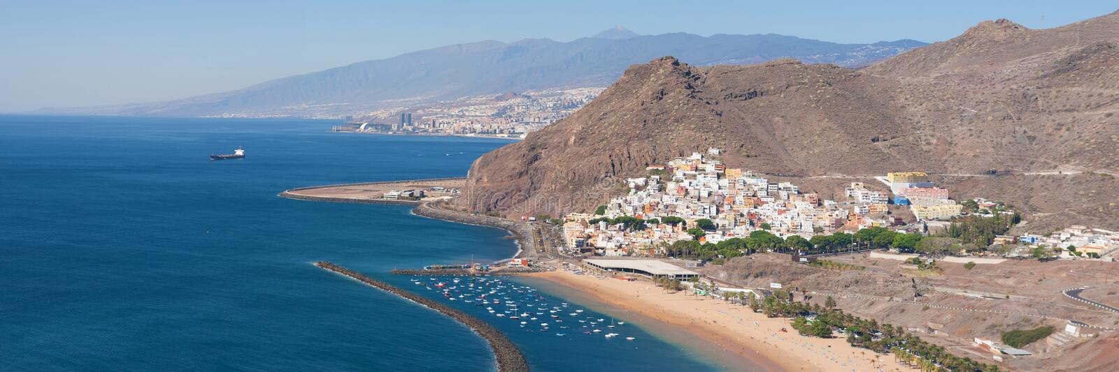 Santa Cruz de Tenerife and San Andres. Panorama of Santa Cruz de Tenerife and San Andres in Tenerife, Canary Islands royalty free stock photos