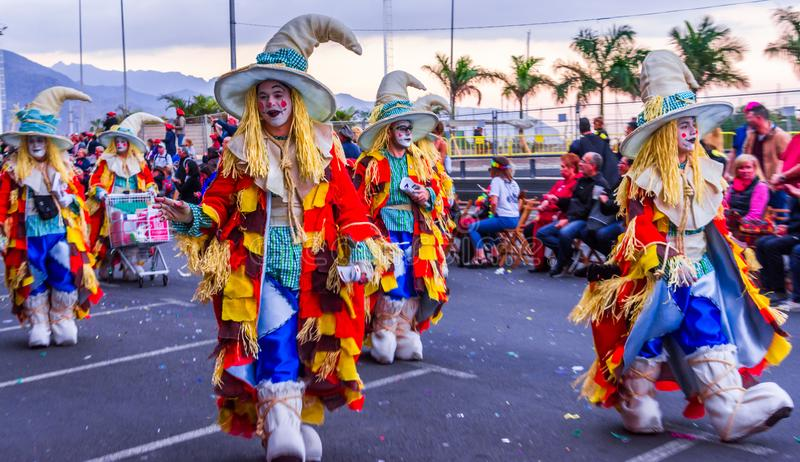 Santa Cruz de Tenerife, Spain, Canary Islands February 13, 2018: Carnival dancers on the parade at Carnaval Santa Cruz de Tenerife. Santa Cruz de Tenerife, Spain stock photography