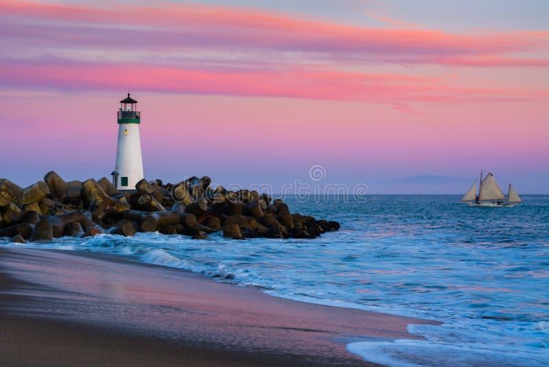 Santa Cruz falochronu latarnia morska zdjęcie royalty free