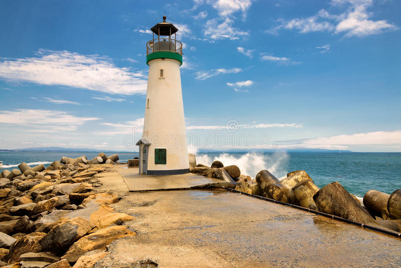 Santa Cruz falochronu latarnia morska, Kalifornia obraz stock
