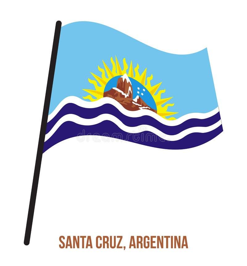Santa Cruz Flag Waving Vector Illustration på vit bakgrund Flagga av Argentina landskap royaltyfri illustrationer
