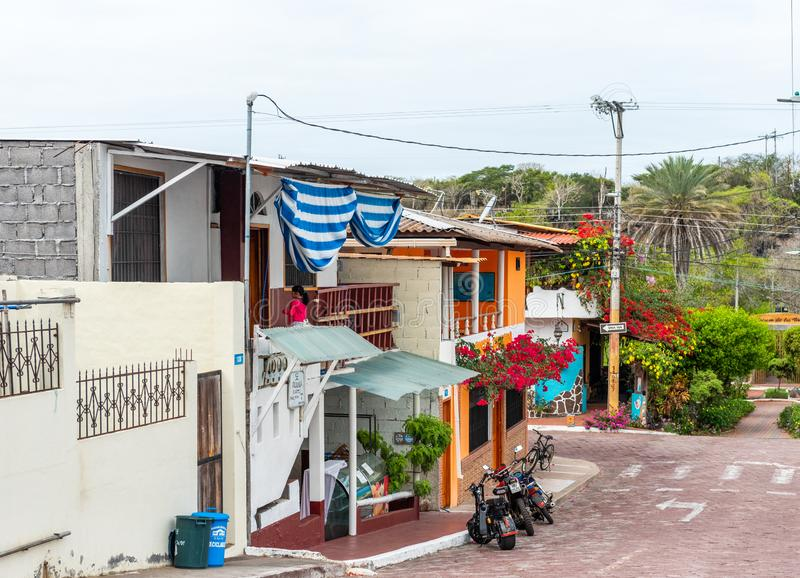 SANTA CRUZ ISLAND, GALAPAGOS ISLAND - JULY 2, 2019: View of the city street in the private sector stock photo