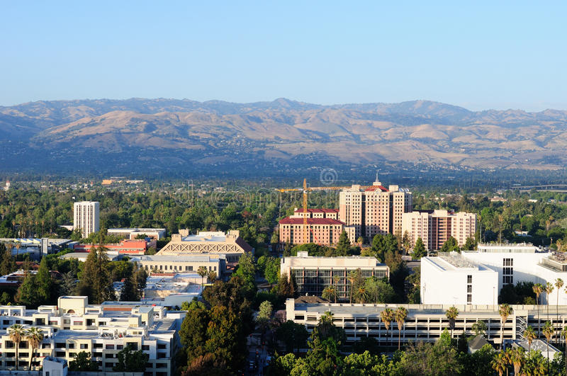 Diablo mountains and San Jose. Diablo mountains and an aerial view of buildings around San Jose California in the late afternoon light stock photo