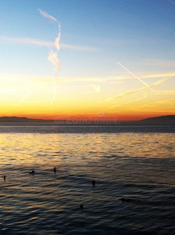 Santa Cruz Ocean Sunrise Surfing fotos de archivo libres de regalías