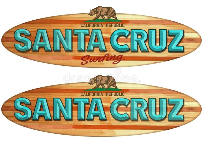 Santa Cruz surfboard znak ilustracja wektor