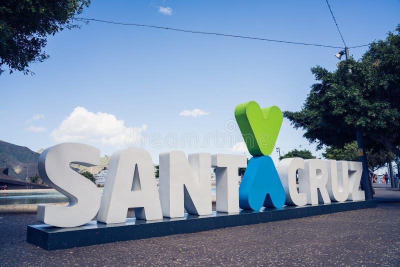 Santa Cruz, Tenerife. Santa Cruz sign in the centre of the city. royalty free stock photography