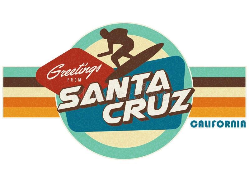 Santa Cruz Vintage Postcard style t-shirt design art vector illustration