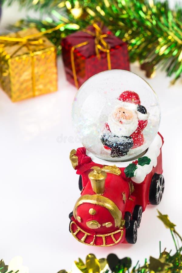 Santa Crystal snow ball on Christmas background royalty free stock photography
