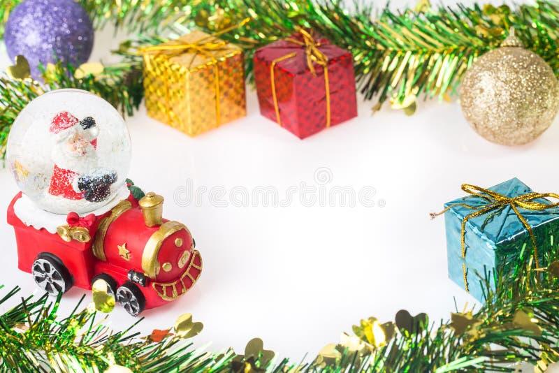 Santa Crystal snow ball on Christmas background stock image