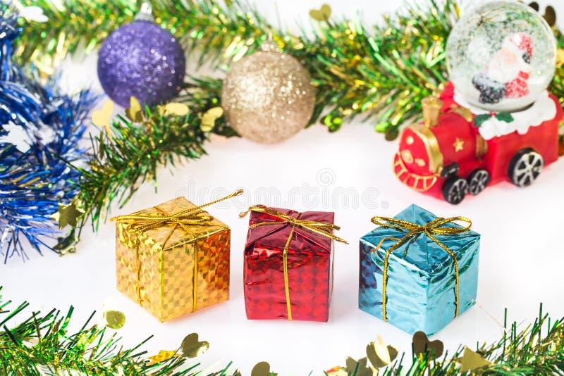 Santa Crystal snow ball on Christmas background stock photography