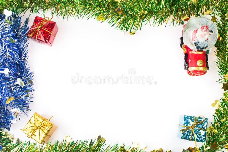 Santa Crystal snow ball on Christmas background stock images