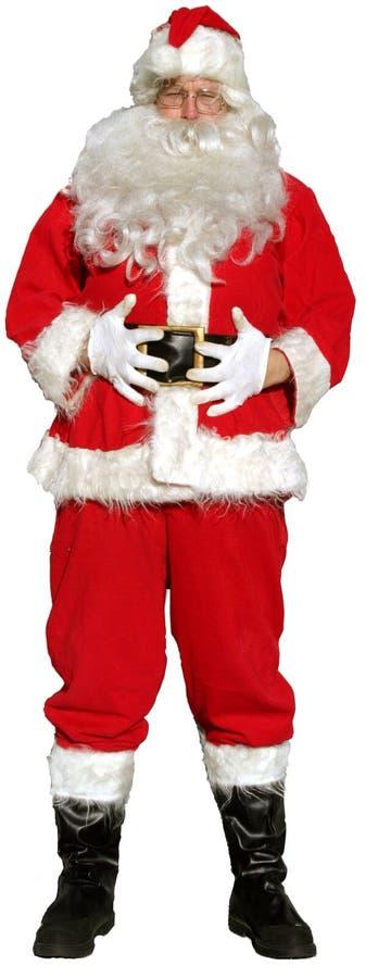 Santa d'isolement reste avec ses mains sur son ventre comme si pour indiquer   images stock