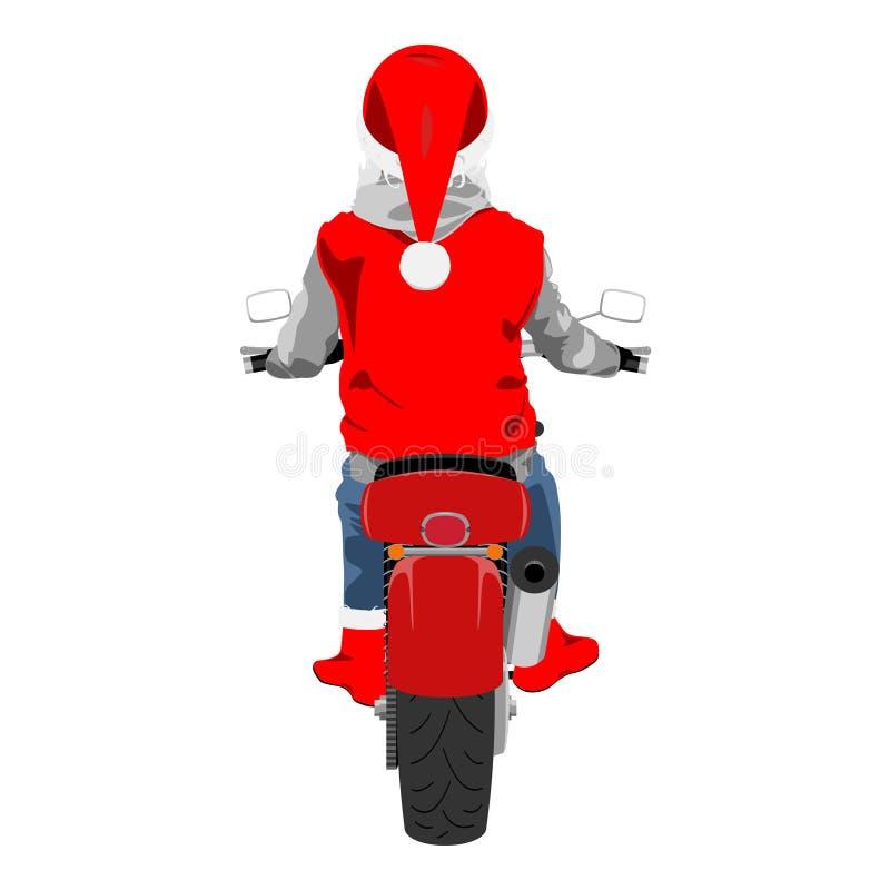 Santa da motocicleta na ilustração isolada do vetor da cor para trás vista clássica ilustração do vetor