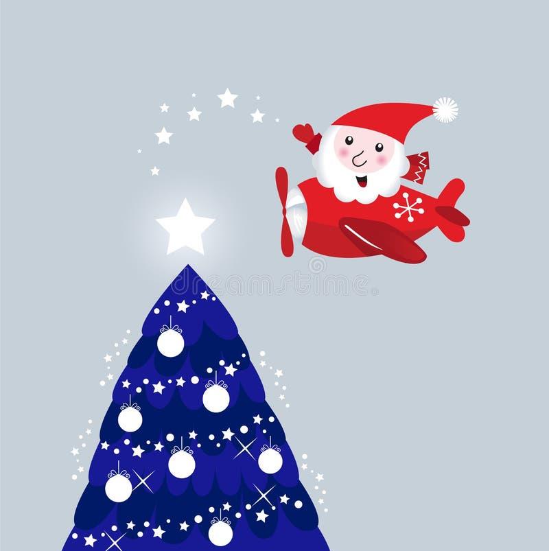 Santa dans l'arbre de Noël d'éclairage d'avion d'air illustration de vecteur