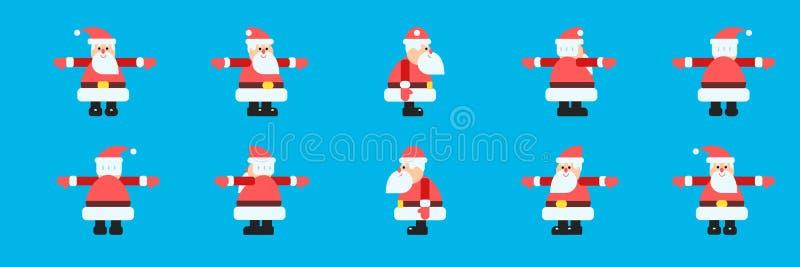 Santa dans l'ensemble différent de vecteur de directions illustration de vecteur