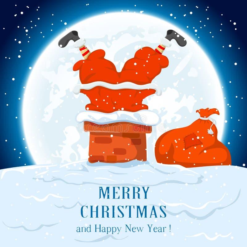 Santa dans la cheminée illustration stock