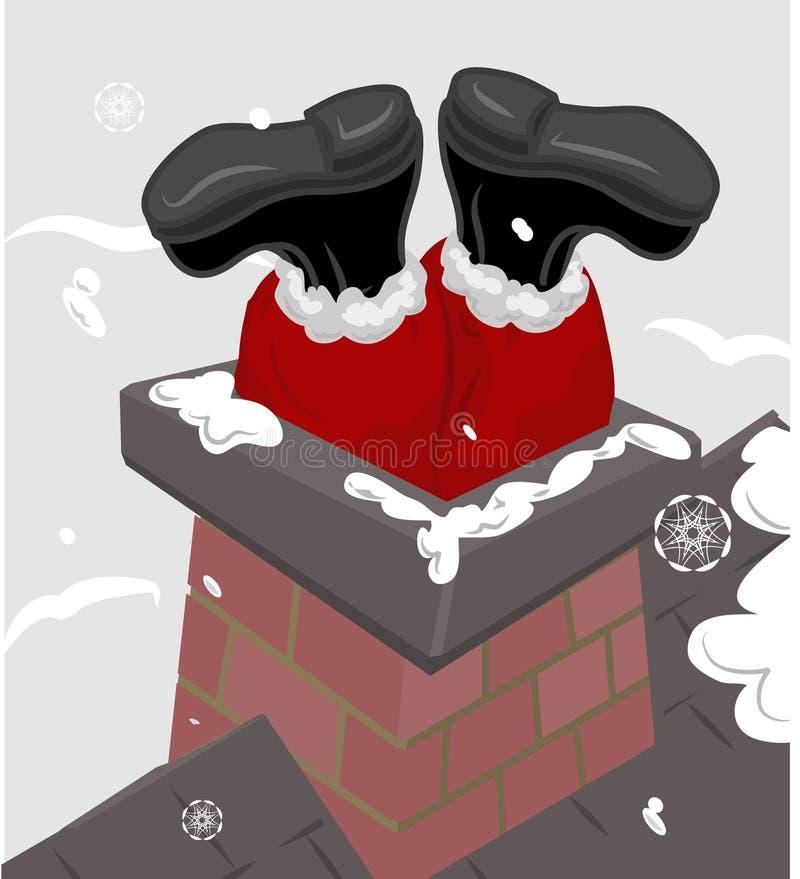 Santa dans la cheminée illustration libre de droits